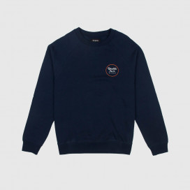 Толстовка Brixton Wheeler Crew Fleece Navy/Orange