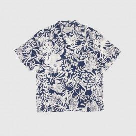 Рубашка Carhartt WIP S/S Tiki Mono Shirt Tiki Mono Print, Blue / Wax