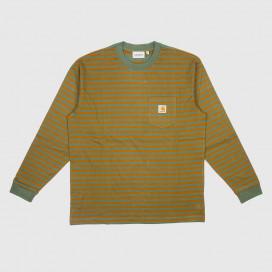 Лонгслив Carhartt WIP L/S Barkley Pocket T-Shirt (Barkley Stripe Adventure / Hamilton Brown)