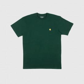 Футболка Carhartt WIP S/S Chase T-Shirt Bottle Green / Gold