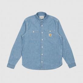 Рубашка Carhartt WIP L\S Clink Shirt Blue(Bleached)