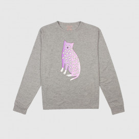 Лонгслив KRASNOVA clothes Cat with eyes Grey/Lavander