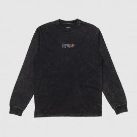 Лонгслив RIPNDIP Logo Embroidered LS Black Mineral Wash