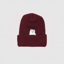 Шапка RIPNDIP Lord Nermal Ribbed Beanie Burgundy