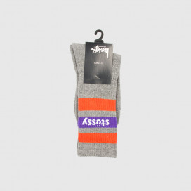 Носки Stussy Stripe Crew Socks Grey/Purple