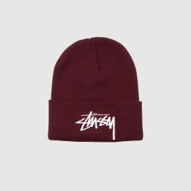 Шапка Stussy Big Stock Cuff Beanie Burgundy