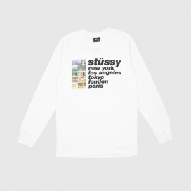 Лонгслив Stussy Italic Collage LS Tee White