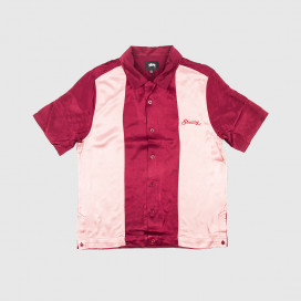 Рубашка Stussy 2 TONE BOWLING SHIRT Burgundy
