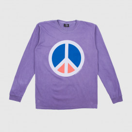 Лонгслив Stussy PEACE PIG. DYED LS TEE PURPLE
