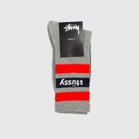 Носки Stussy SP19 STRIPE CREW SOCKS Grey/Red